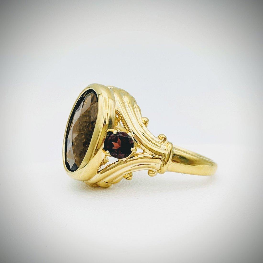Gold Plated Sterling Silver Smoky Quartz Garnet Ring - 2