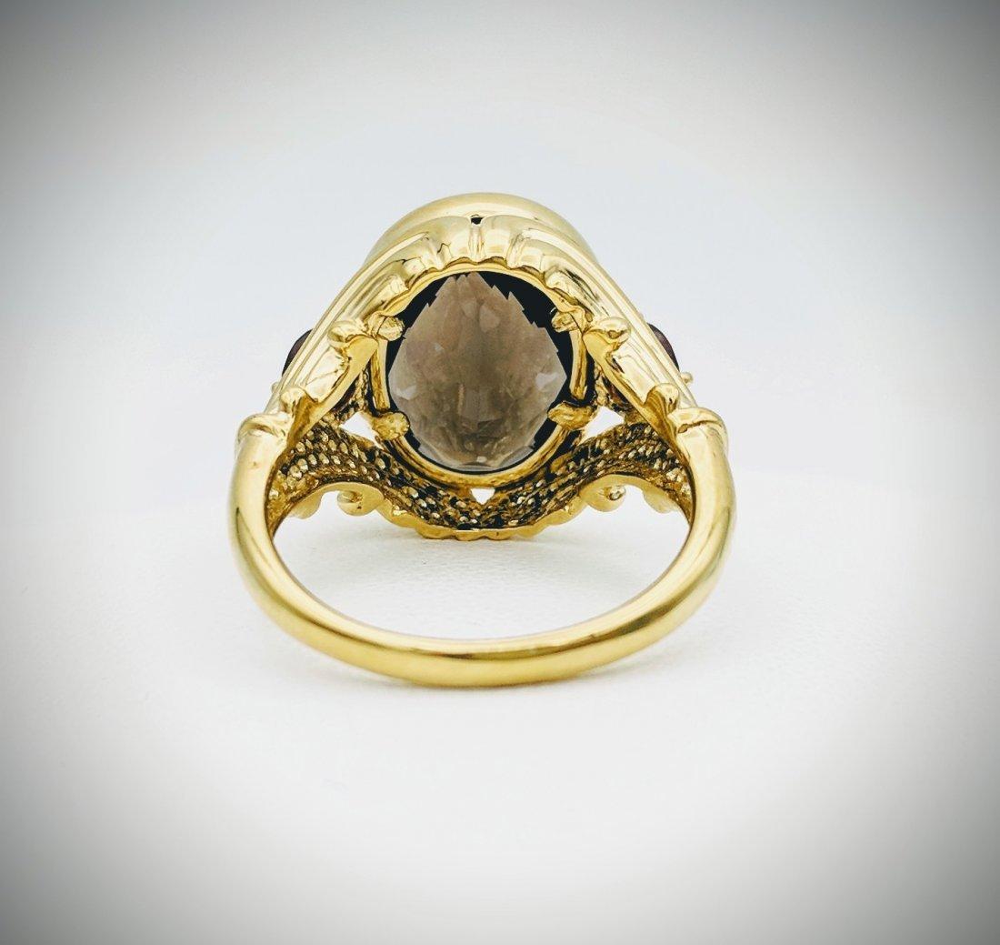 Gold Plated Sterling Silver Smoky Quartz Garnet Ring - 3