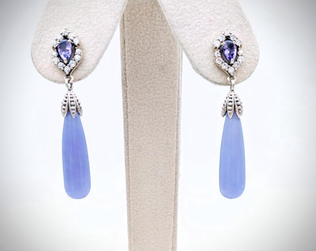 Sterling Silver Violet Jade Amethyst CZ Earrings
