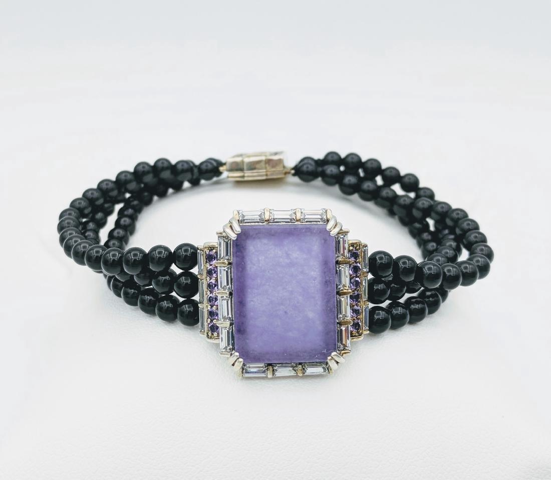 Sterling Silver Violet Jade Amethyst Onyx Bracelet