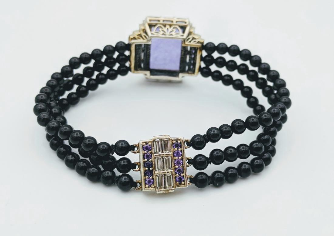 Sterling Silver Violet Jade Amethyst Onyx Bracelet - 2