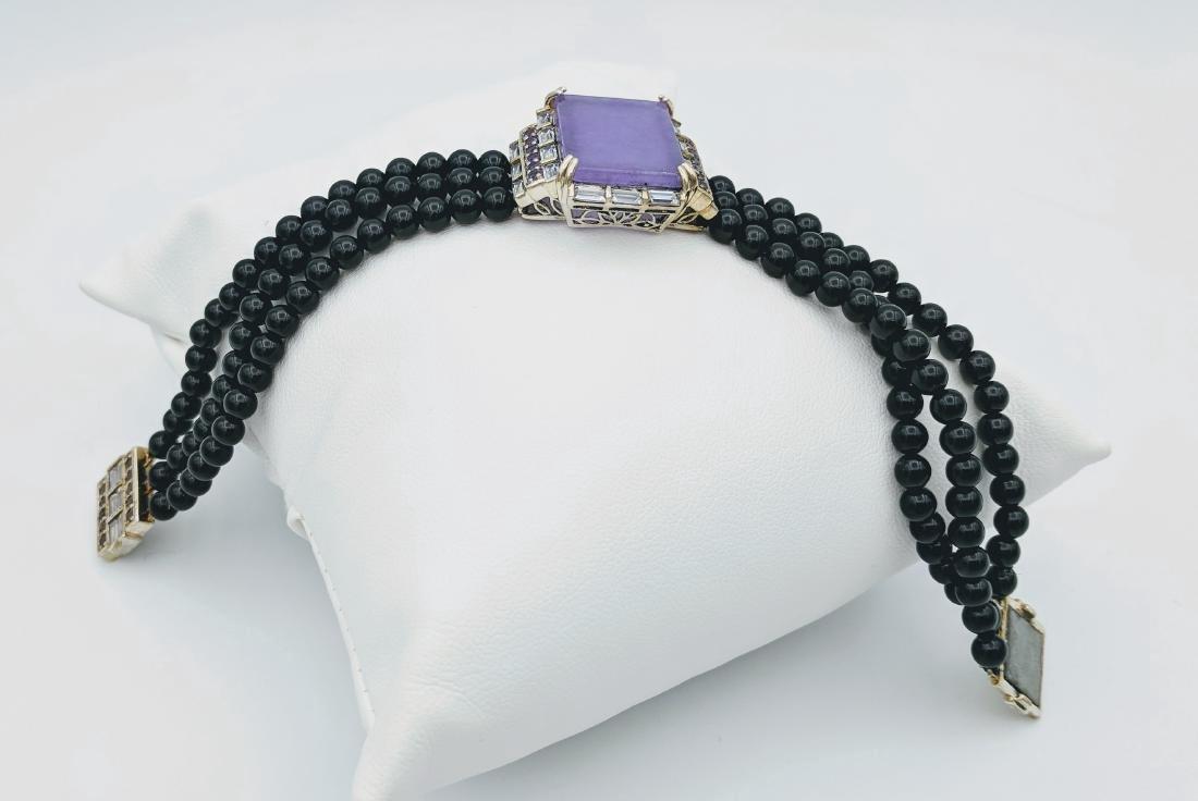 Sterling Silver Violet Jade Amethyst Onyx Bracelet - 3
