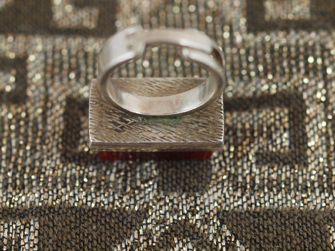 Vintage Silver Carnelian Ring - 3
