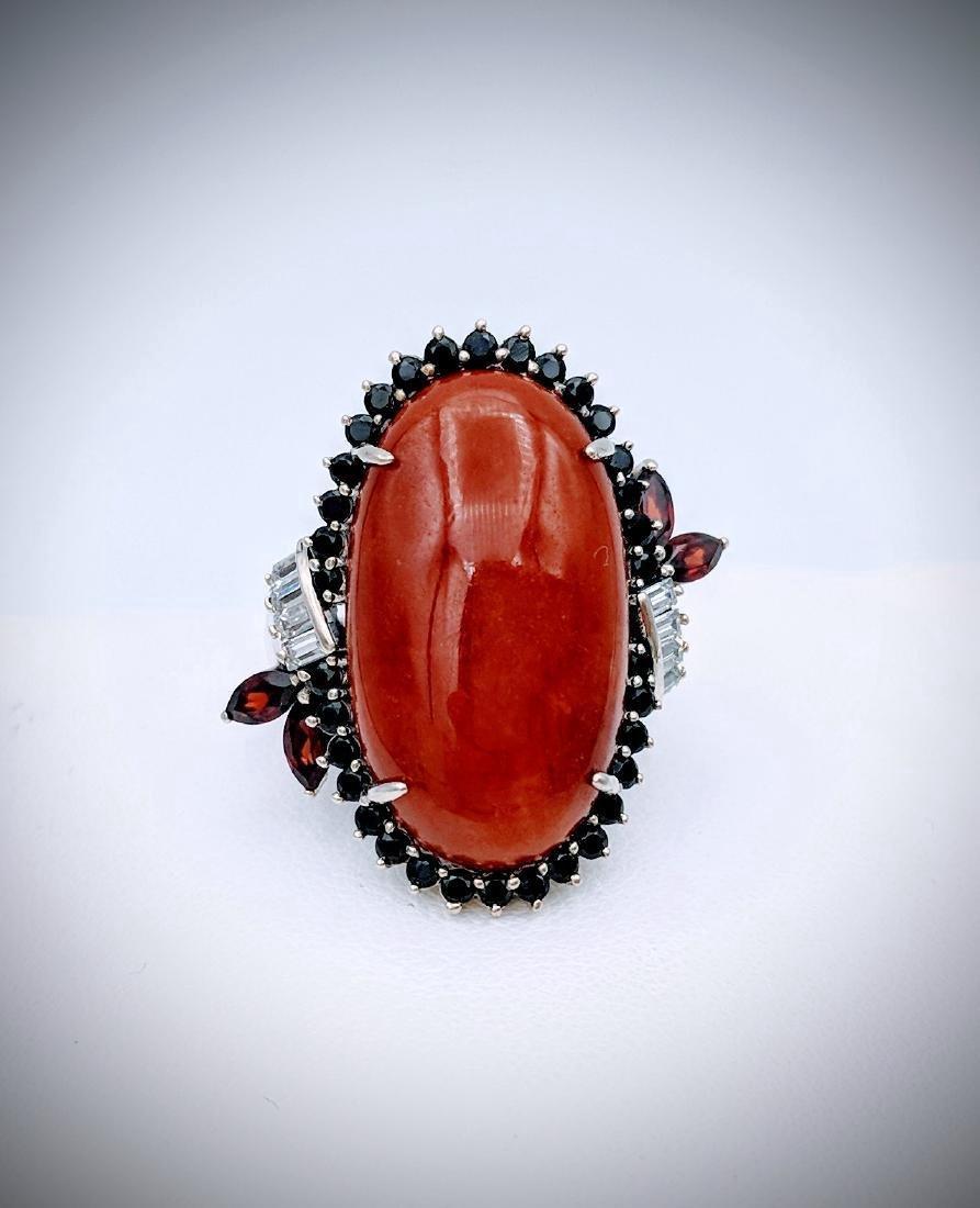 Sterling Silver Jasper Garnet Black Onyx Ring