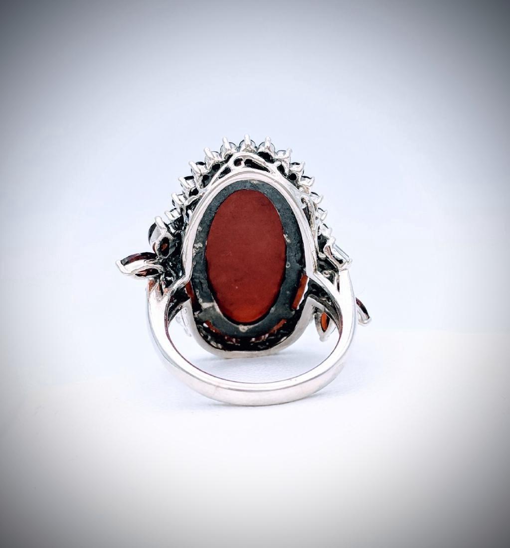 Sterling Silver Jasper Garnet Black Onyx Ring - 2