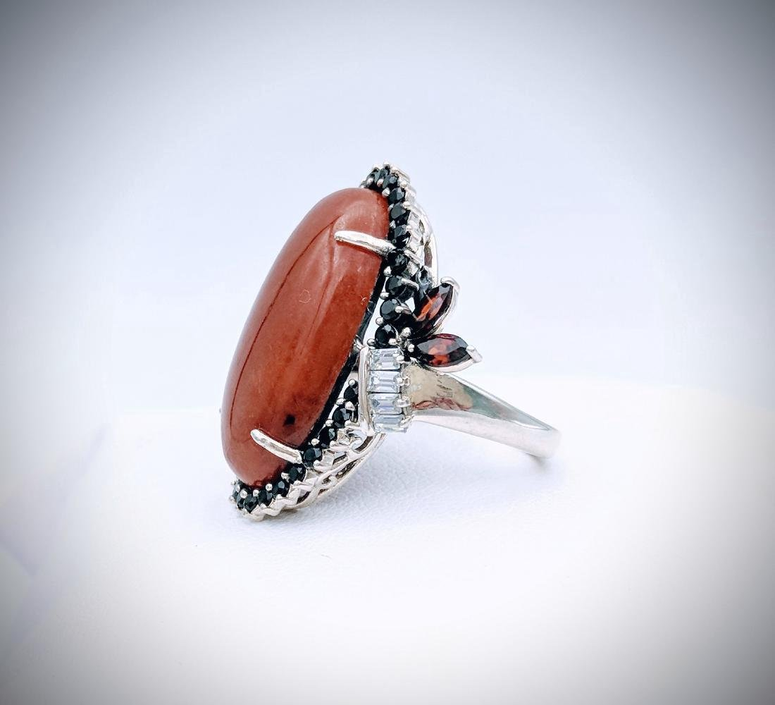 Sterling Silver Jasper Garnet Black Onyx Ring - 3