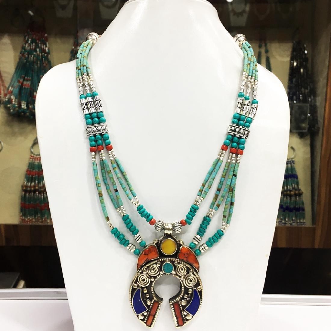 Tibetan Silver Handmade Turquise Coral Pendant Necklace