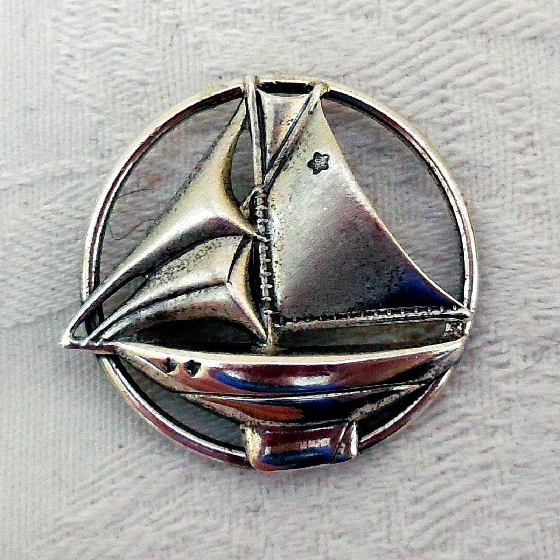Vintage Sterling Silver Sailboat Pin Brooch