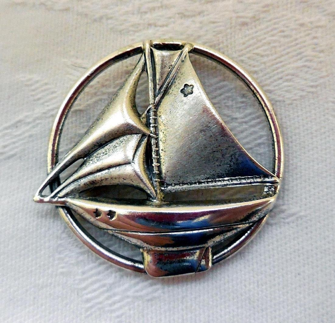 Vintage Sterling Silver Sailboat Pin Brooch - 6