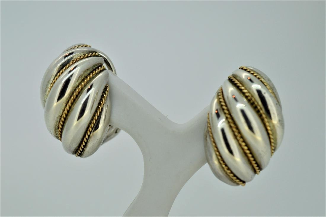 Vintage Sterling Silver 14K Gold Shell Clip-on Earrings