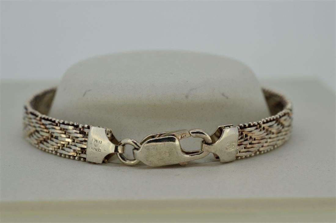 Vintage Sterling Silver Riccio Herringbone Bracelet - 2