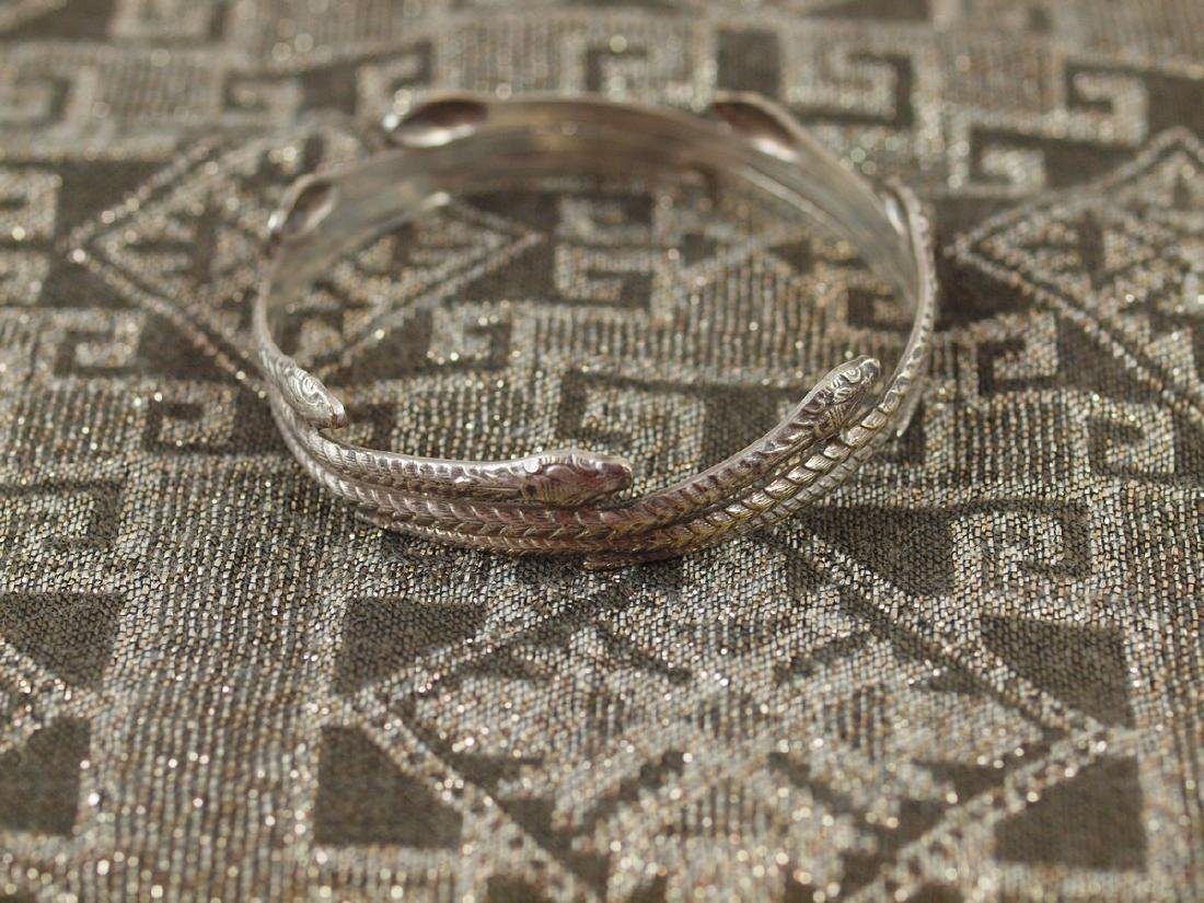 Rigid Silver Art Deco Seven Snakes Bracelet
