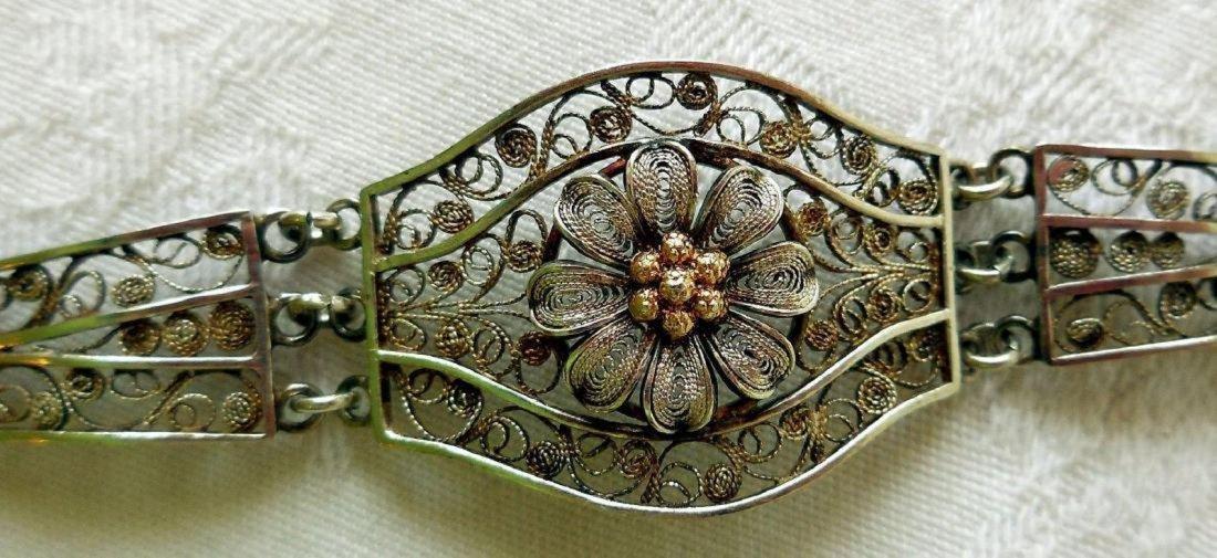Antique 800 Silver Filigree Bracelet - 2