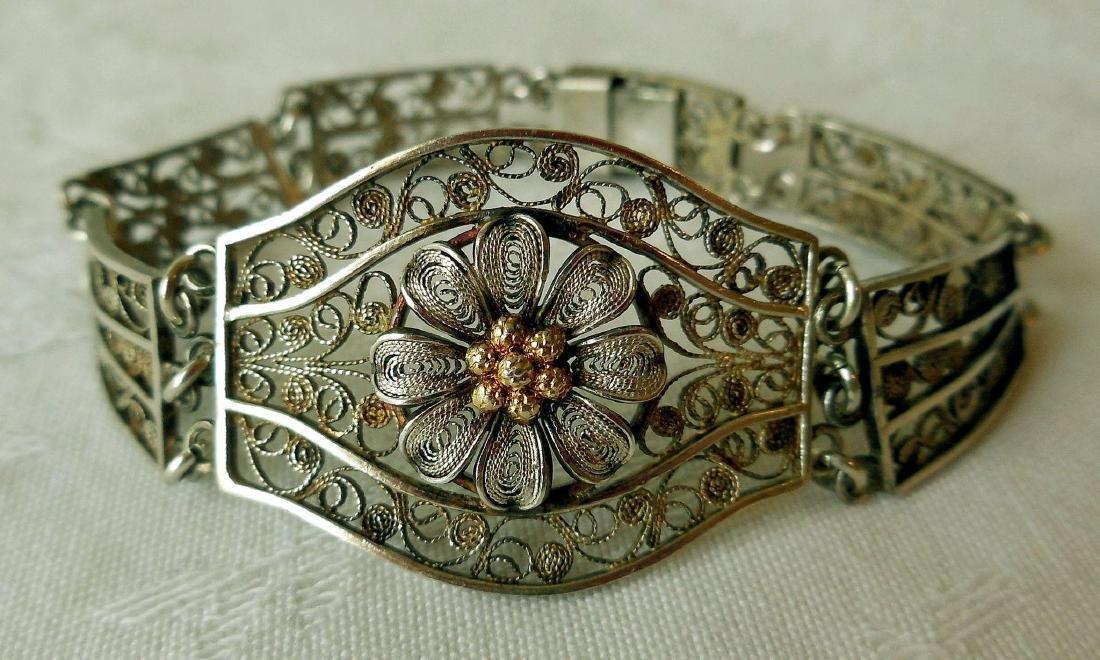 Antique 800 Silver Filigree Bracelet - 3