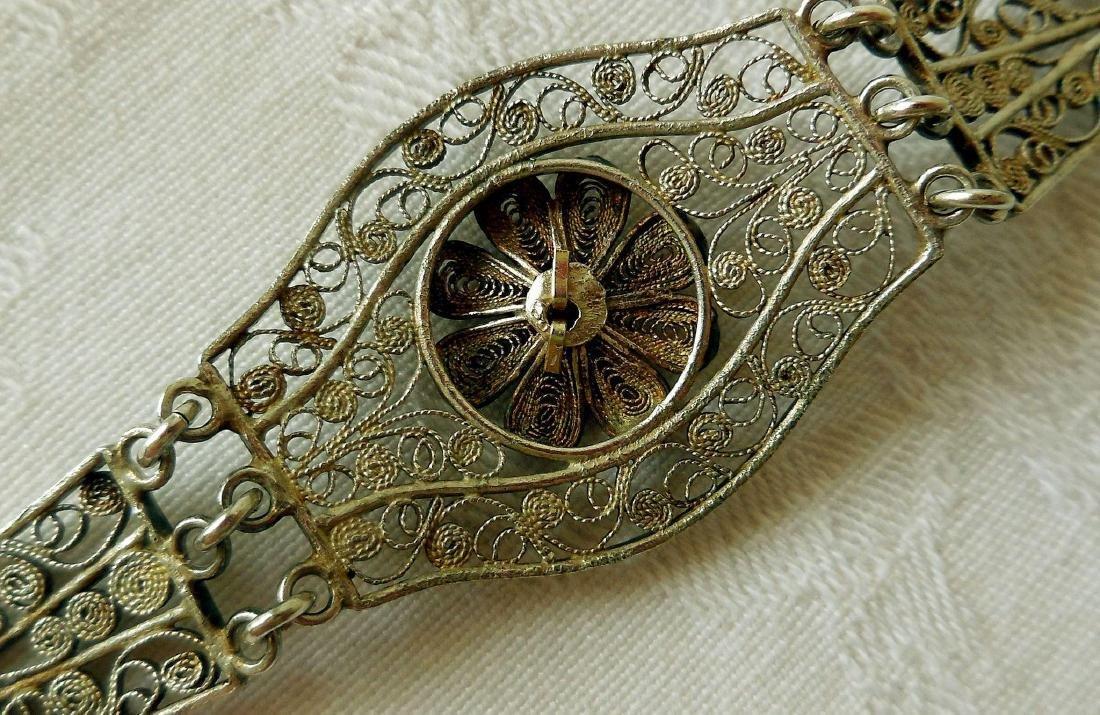 Antique 800 Silver Filigree Bracelet - 4