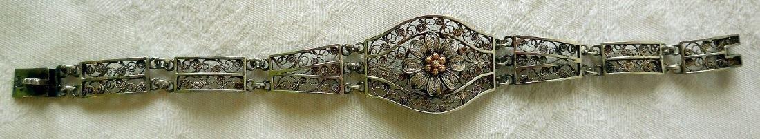 Antique 800 Silver Filigree Bracelet - 5