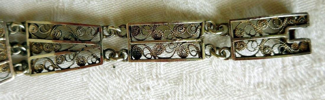 Antique 800 Silver Filigree Bracelet - 7