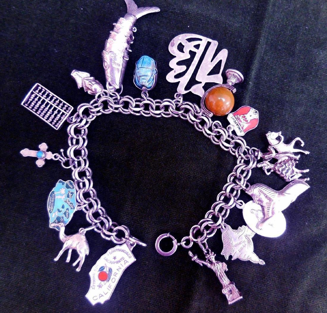 Vintage Sterling Silver Charm Bracelet, 16 Charms