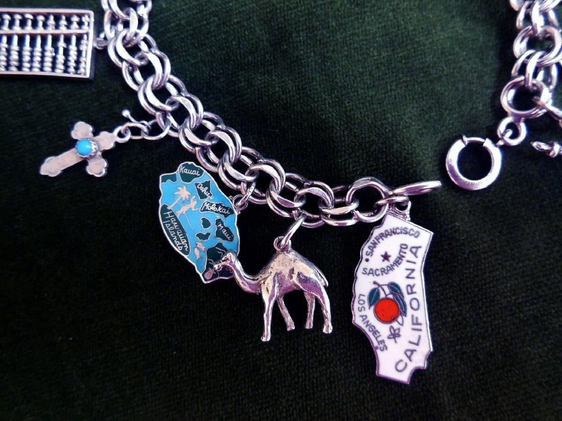 Vintage Sterling Silver Charm Bracelet, 16 Charms - 2