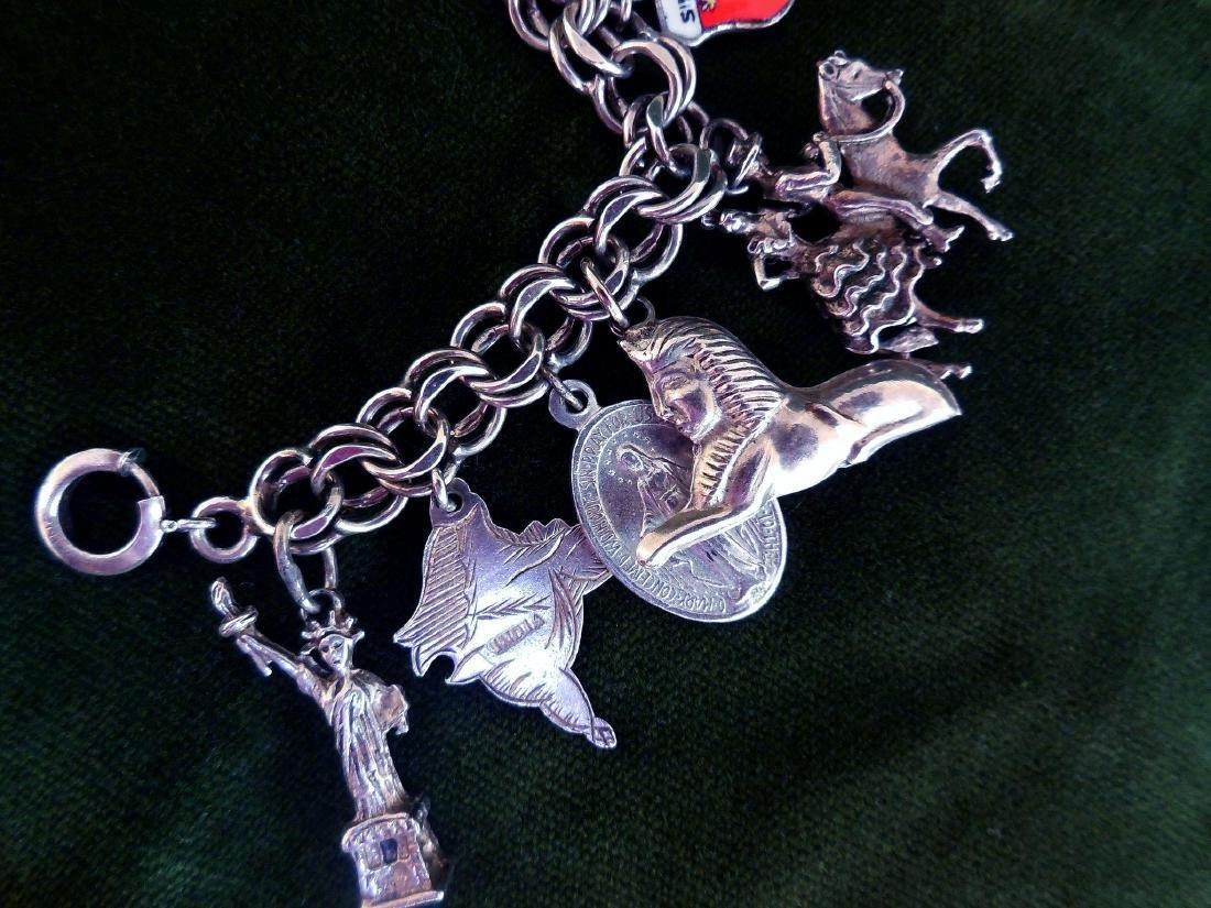 Vintage Sterling Silver Charm Bracelet, 16 Charms - 5