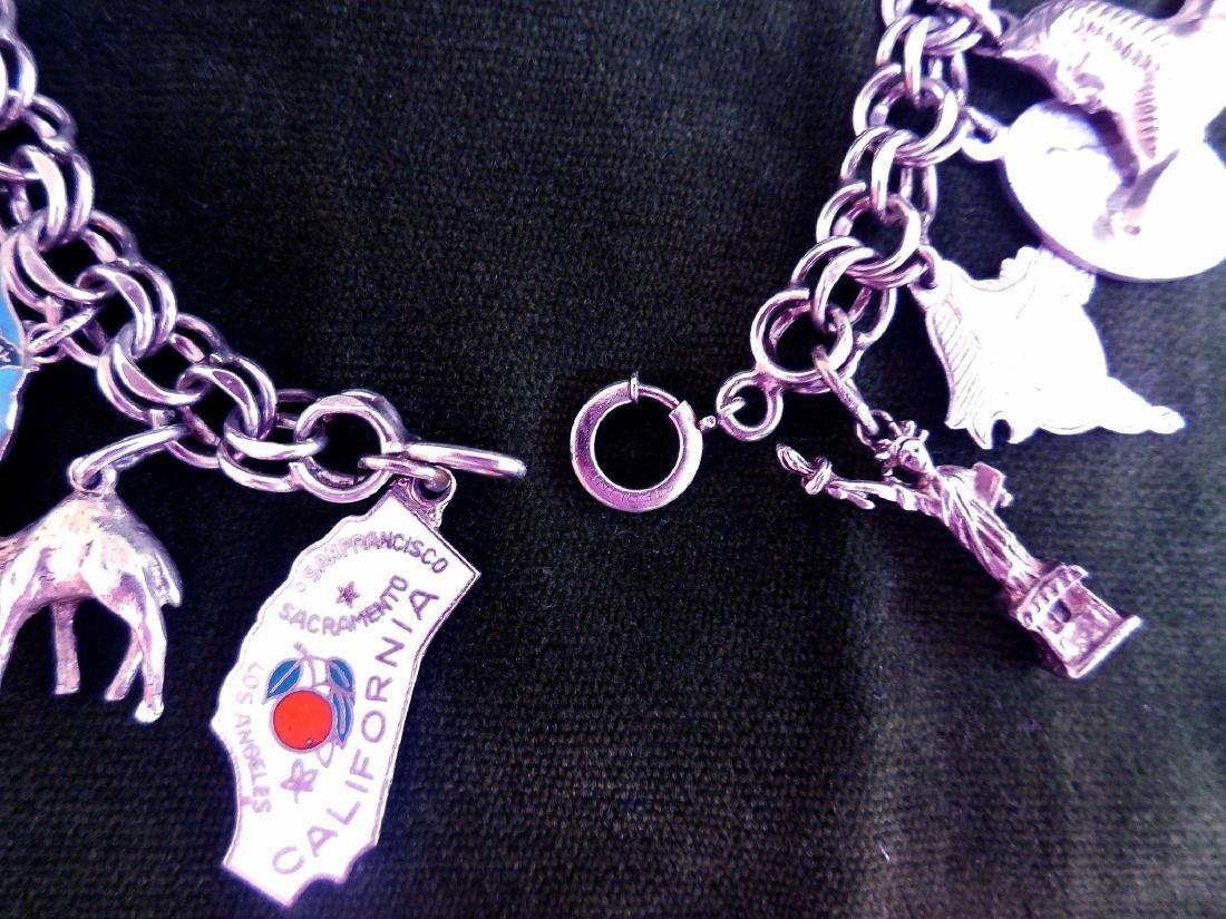 Vintage Sterling Silver Charm Bracelet, 16 Charms - 6