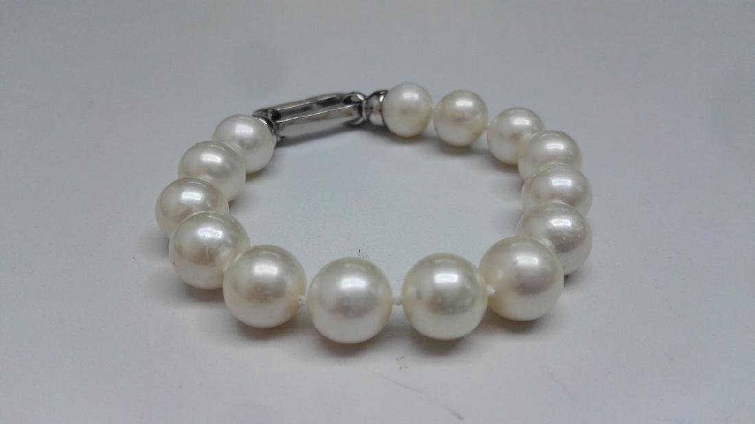 925 Silver Cultured Freshwater White Pearl Bracelet - 2