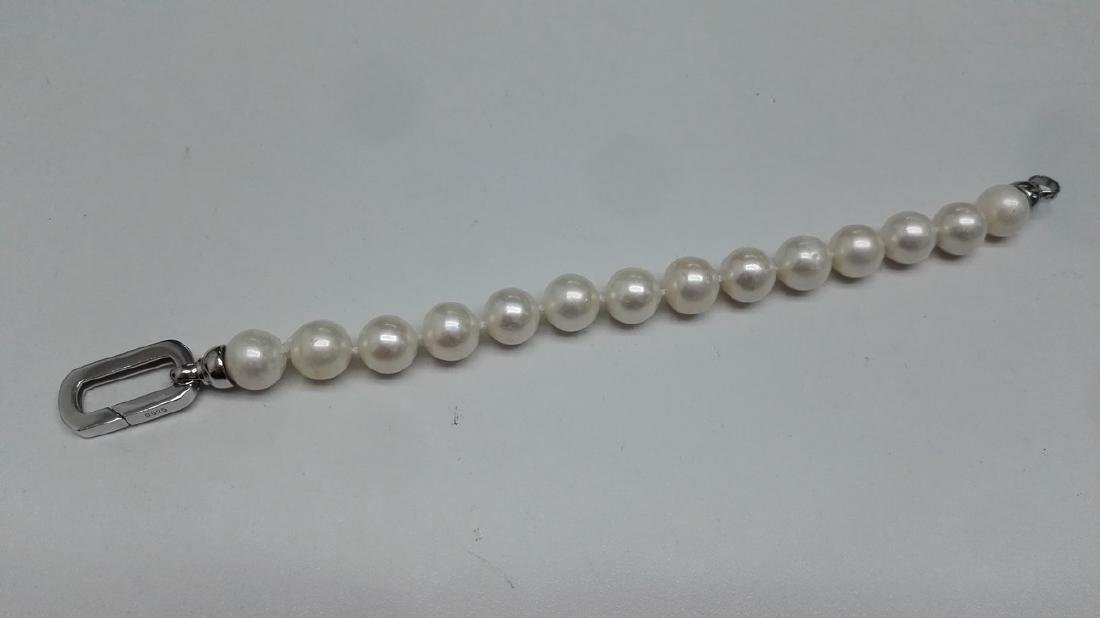 925 Silver Cultured Freshwater White Pearl Bracelet - 3