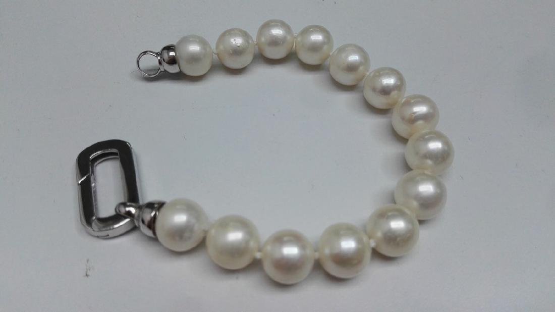 925 Silver Cultured Freshwater White Pearl Bracelet - 4