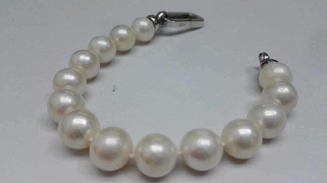 925 Silver Cultured Freshwater White Pearl Bracelet - 5