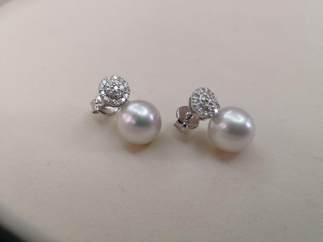 18K White Gold South Sea Pearl Diamond Earrings, .18ctw