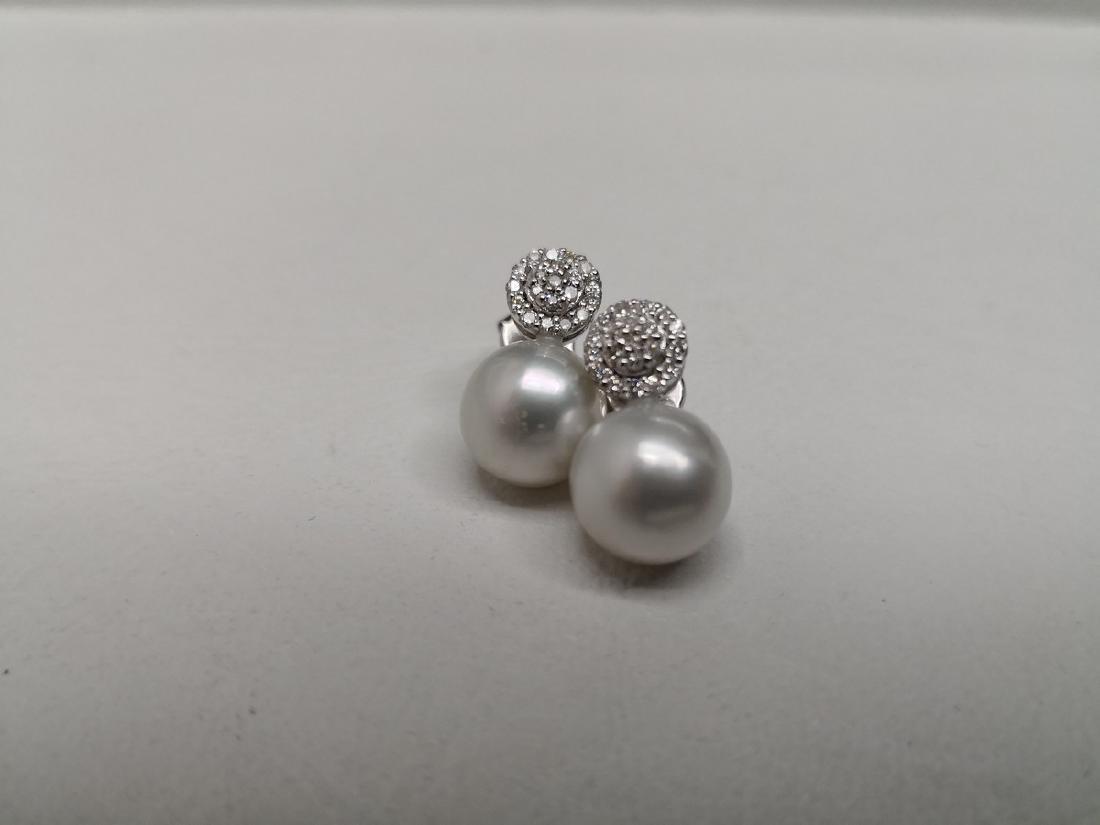 18K White Gold South Sea Pearl Diamond Earrings, .18ctw - 4