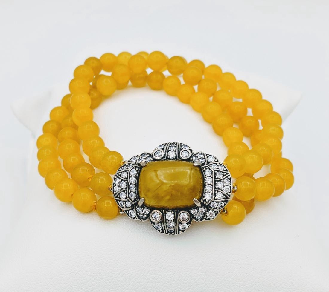Sterling Silver Yellow Jade Cubic Zirconia Bracelet