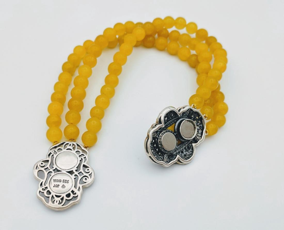 Sterling Silver Yellow Jade Cubic Zirconia Bracelet - 2
