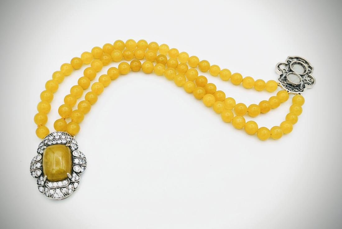 Sterling Silver Yellow Jade Cubic Zirconia Bracelet - 3