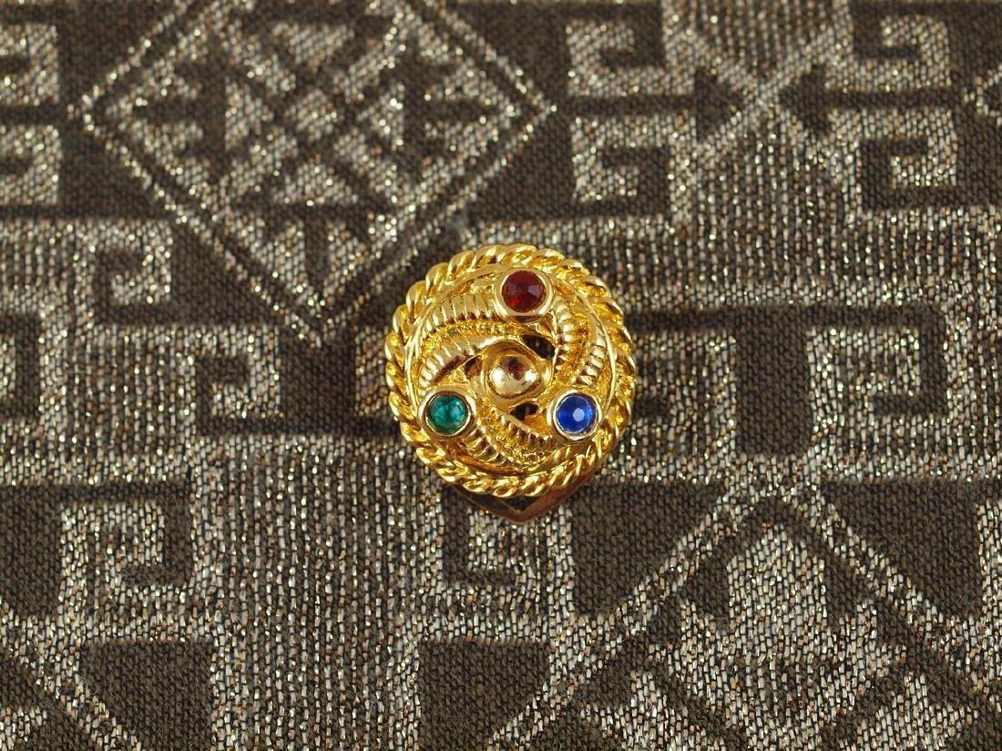 Golden Scarf Brooch Art Deco 3 Crystals