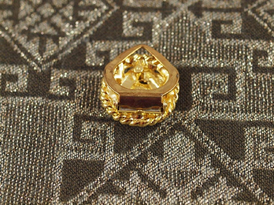 Golden Scarf Brooch Art Deco 3 Crystals - 5