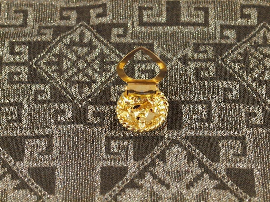 Golden Scarf Brooch Art Deco 3 Crystals - 6