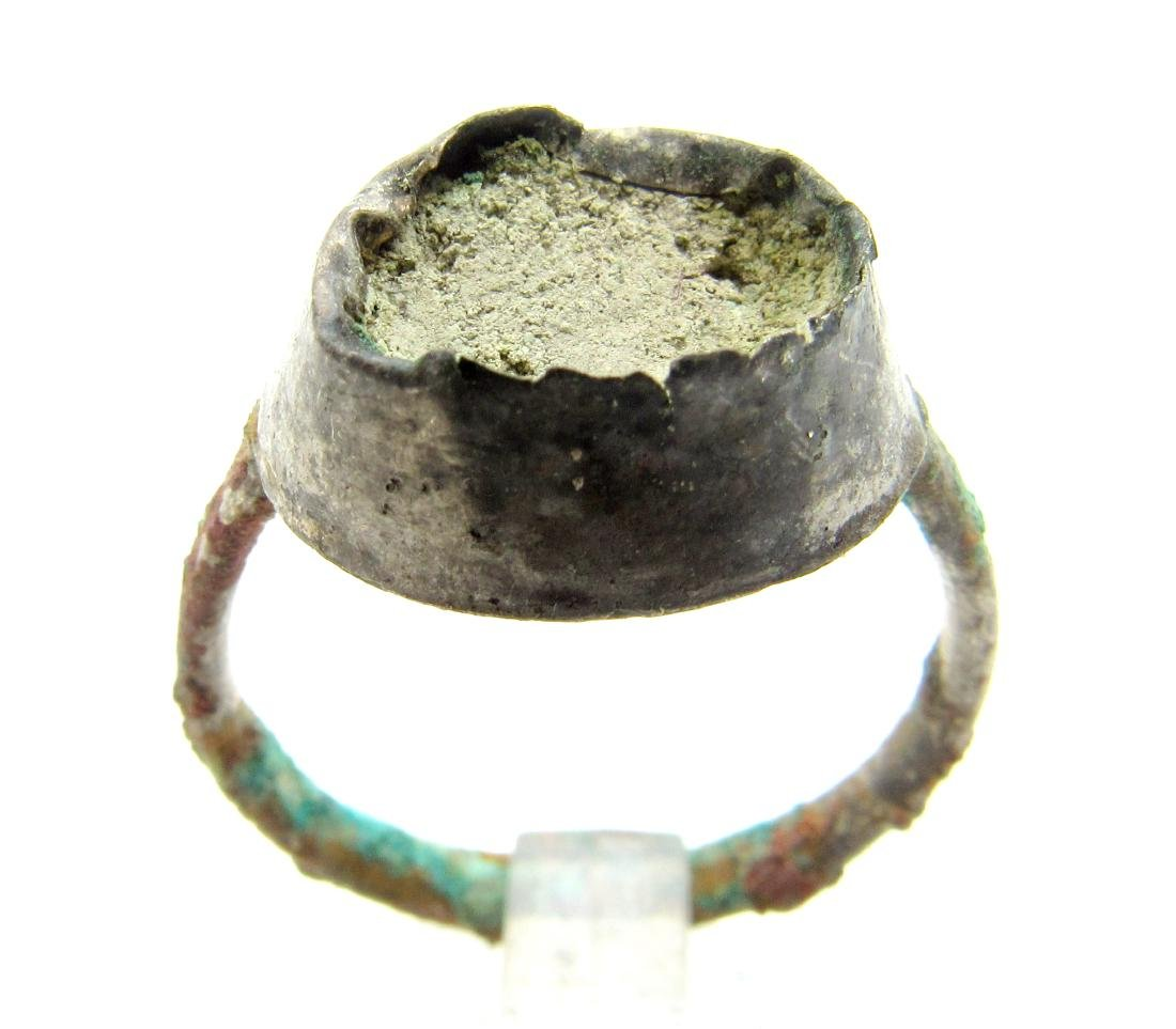 Medieval Silver Viking Ring with Enamel in the Bezel