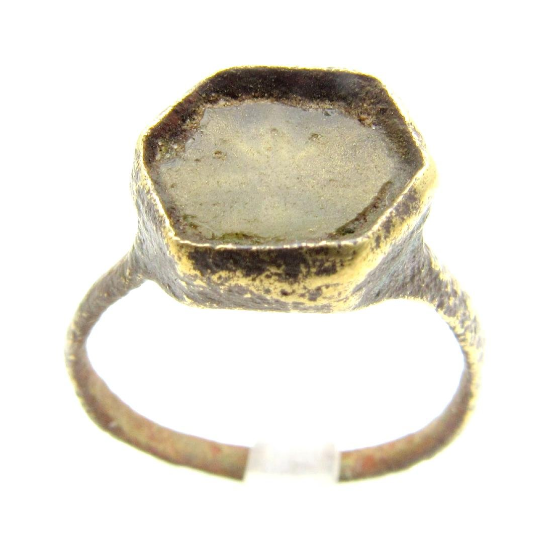 Medieval Crusaders Ring with Glass Over A Star/Cross