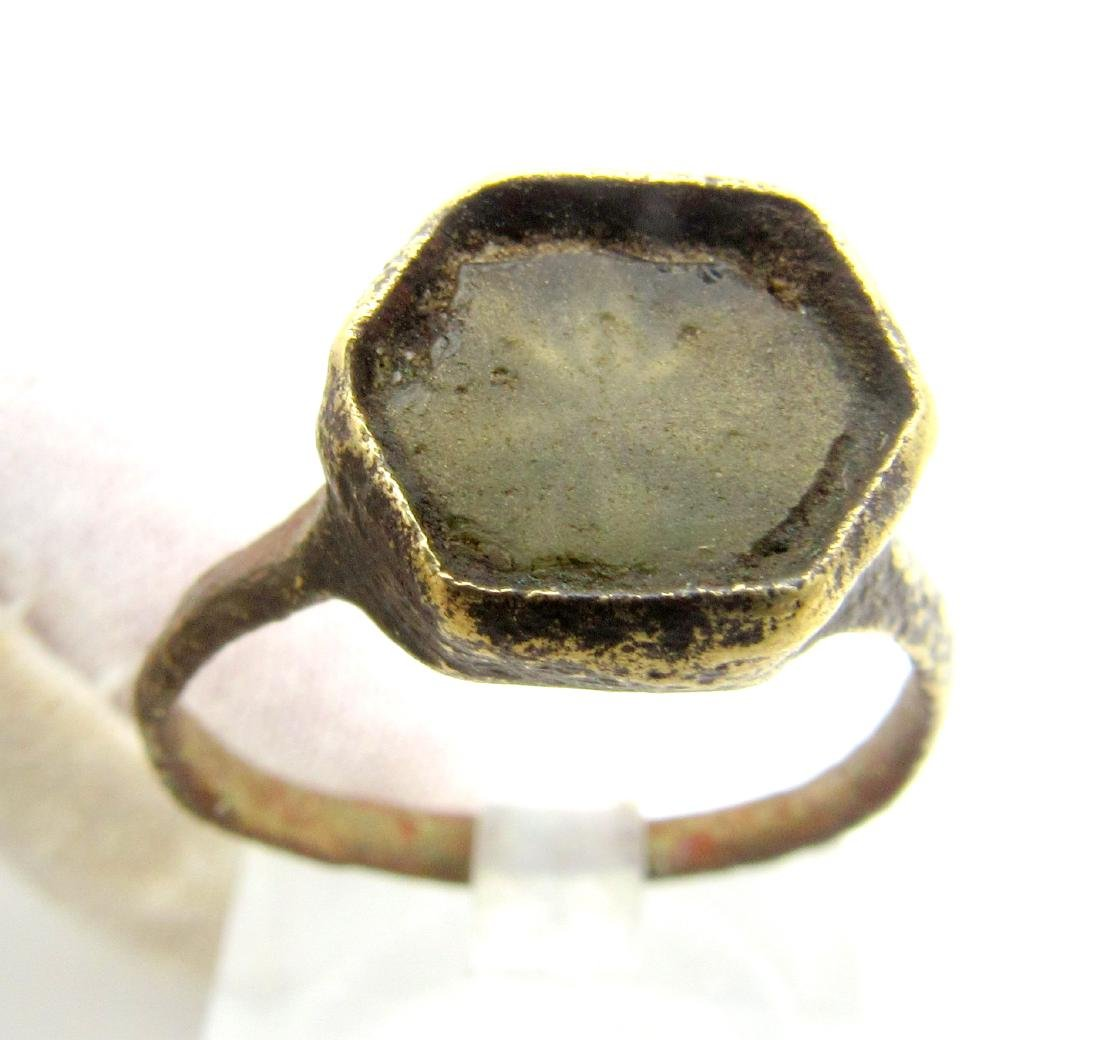 Medieval Crusaders Ring with Glass Over A Star/Cross - 2