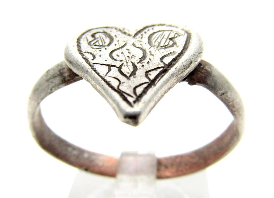 Medieval Renaissance Silver Heart Ring with Stylized