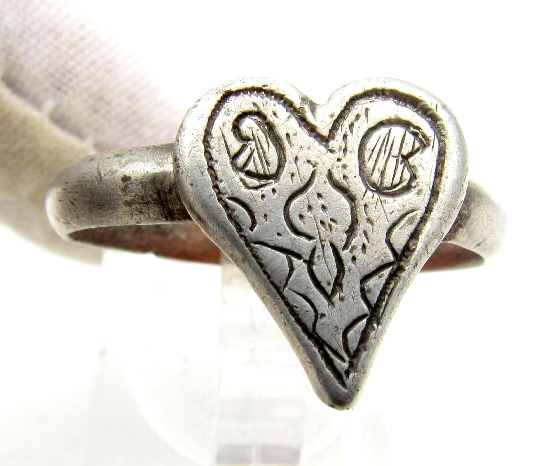 Medieval Renaissance Silver Heart Ring with Stylized - 2