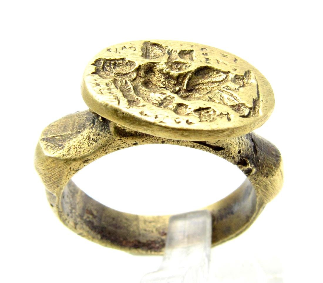 Post Medieval Ring with Ancient Greek Figure on Bezel
