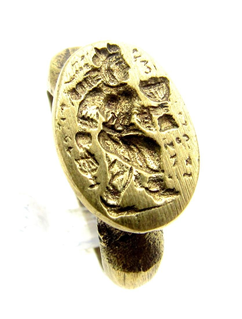 Post Medieval Ring with Ancient Greek Figure on Bezel - 2