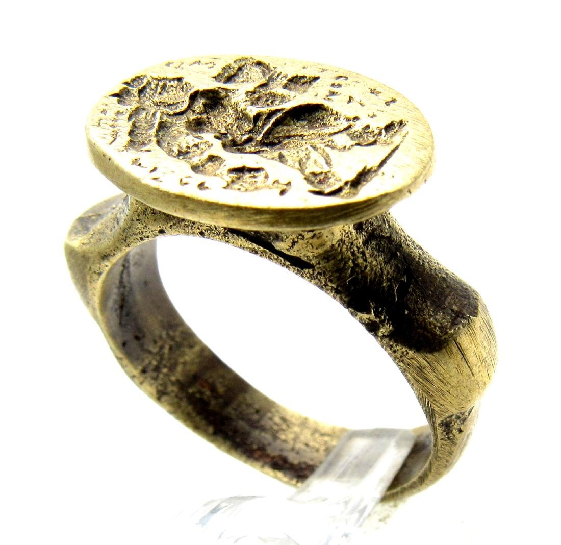 Post Medieval Ring with Ancient Greek Figure on Bezel - 3