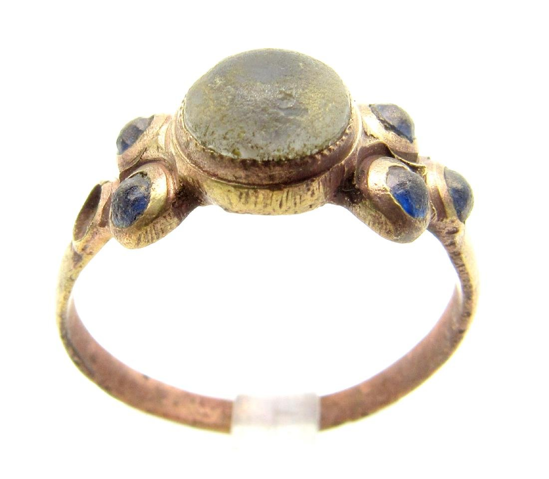 Late Medieval Ring with 1 White & 5 Blue Stones