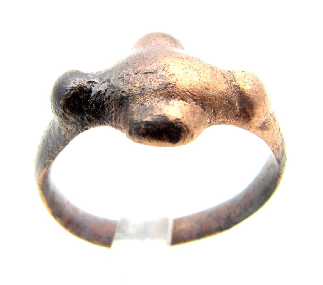 Medieval Viking Ring with Cross Shaped Bezel.