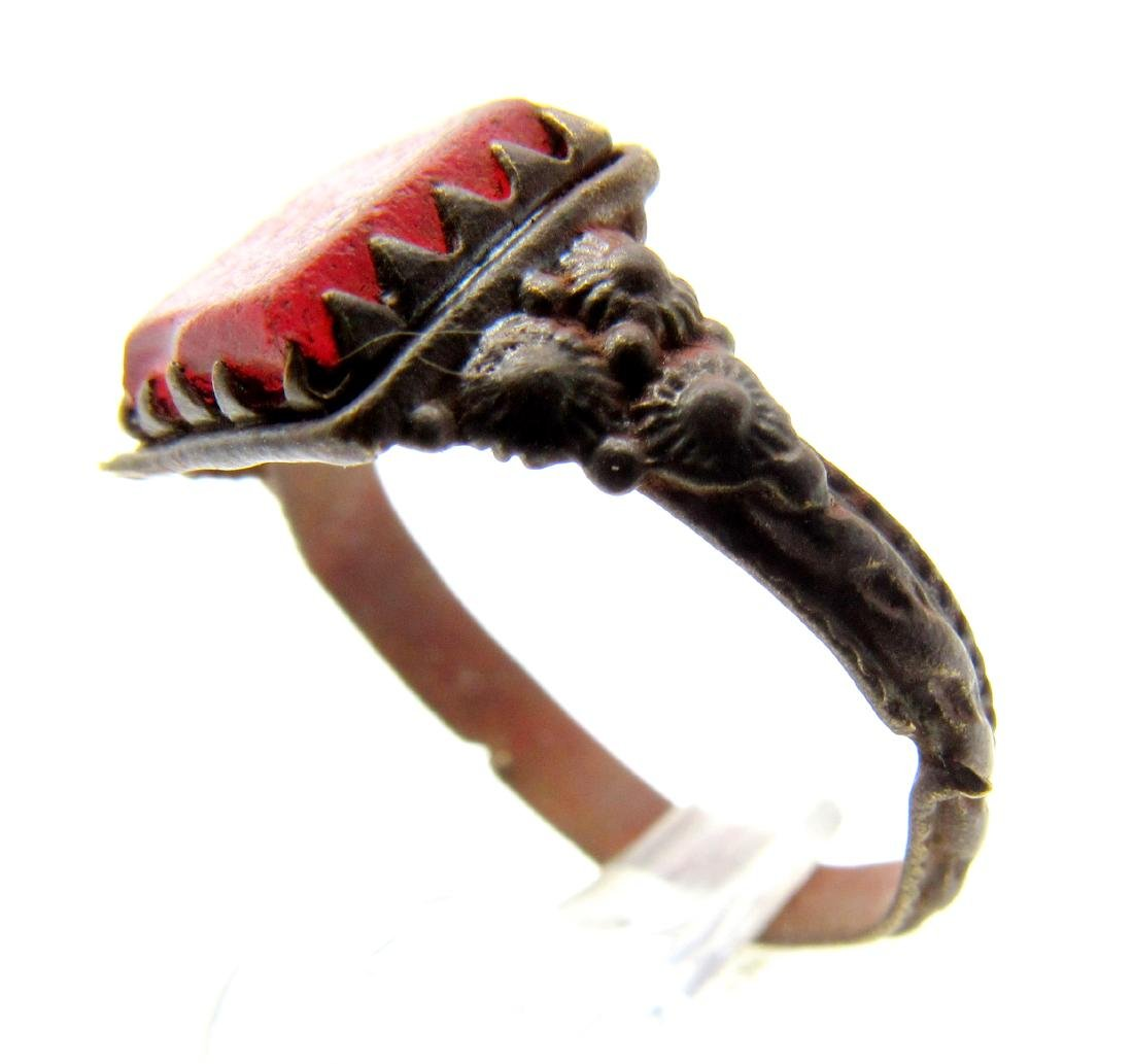 Late Medieval Ring with Red Stone - 2
