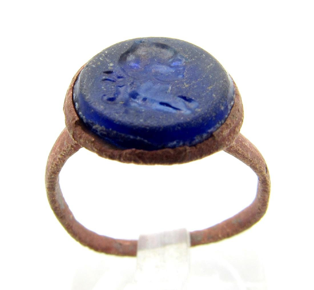 Late Medieval Ring with Bust Engraved on Blue Intaglio