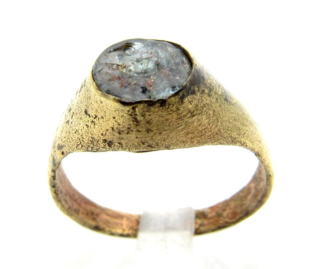 Medieval Viking Ring with Bird Engraved on White